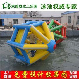 户外大型移动充气水上乐园水上闯关游乐设备支架水池滑梯组合