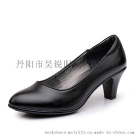 款号107 头层牛皮商务女鞋 行政鞋 跟高5CM 后跟带海绵