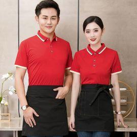 酒店餐饮服务员工作服短袖超市快餐厅火锅饭店超市宽松T恤POLO女T