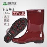 女式中筒雨鞋雨靴 男女休闲劳保防滑中筒雨靴 纯色防滑女式雨鞋
