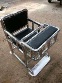 [鑫盾安防]不锈钢审讯椅定做 棕黑色板钥匙型铁质审讯桌椅XD1