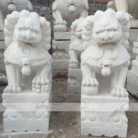石雕狮子大理石看门一对镇宅看门雕塑摆件