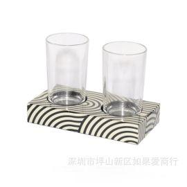 木质双人架欧式卫浴浴室牙刷杯架漱口杯架仿古双杯架口杯架家摆件