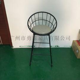 供应不锈钢圆形舒适创意吧椅白色坐垫时尚高脚椅