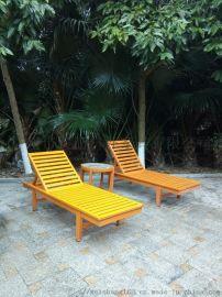 温泉酒店防腐木沙滩椅 休闲躺椅