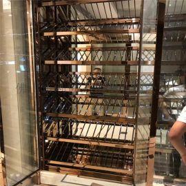 定制创意不锈钢酒柜酒店中式红酒架