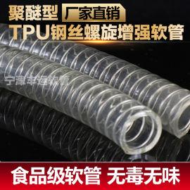 耐高溫PU透明鋼絲管食品級鋼絲軟管無毒無味聚氨酯平滑管