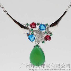 厂家直销色彩缤纷石银饰镶嵌多色玉髓欧美时尚女士项链