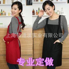 订做厨师围裙挂脖系带男款咖啡厅酒吧西餐厅服务员厨房工作围裙