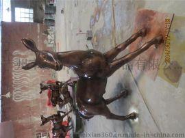 仿铜鹿 玻璃钢仿铜鹿图片 海南环保中式玻璃钢仿铜鹿雕塑摆设