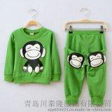 童套装韩版纯棉大猴子印花中小童男孩女孩童装二件套厂家批发