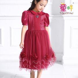 童畔T0021B****儿童礼服奢华花朵钻石裙