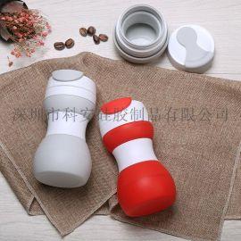 厂家直供广告礼品便携防漏车载水杯创意可伸缩硅胶咖啡水杯可贴牌