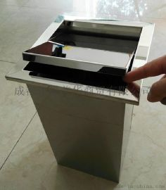 不鏽鋼方形臺面垃圾桶裝飾蓋批發