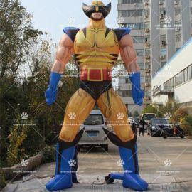 化肥企业形象充气卡通气模 带披风的超人人偶道具