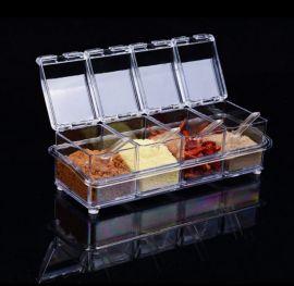 厨房用品透明亚克力调味盒四格调料盒四合一调料罐套装