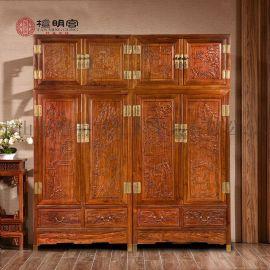 檀明宫刺猬紫檀红木家具兰亭序四门衣柜明式仿古衣橱柜子组合