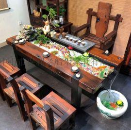 厂家直销老船木仿古家具茶桌客厅办公室实木流水茶台