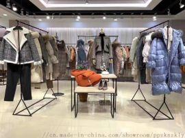 杭州品牌折扣女装纯色中长款羽绒服品牌折扣走份