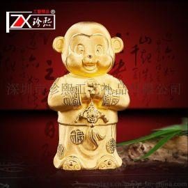 绒沙金生肖猴摆件 猴年创意工艺品 公司开业礼品恭喜发财批发