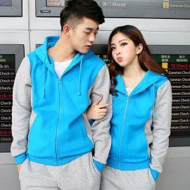 定做工作服韩版秋装外套拼色长袖班服开衫冬卫衣工装