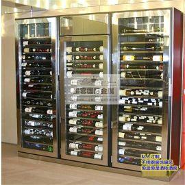 不锈钢酒柜定制 会所高端红酒展示柜 不锈钢恒温酒柜