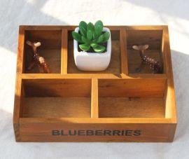 批发复古木质手工收纳盒 五格收纳 桌面杂物收纳 创意饰品盒