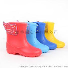 日韓可愛翅膀純色兒童pvc水鞋 水晶果凍色 防滑雨鞋