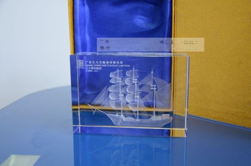 一帆風順水晶紀念品,水晶帆船內雕紀念品,年終贈送客戶紀念品