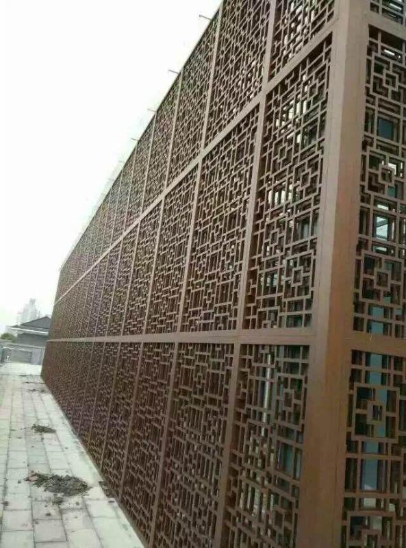 中式木紋鋁型材窗花定製