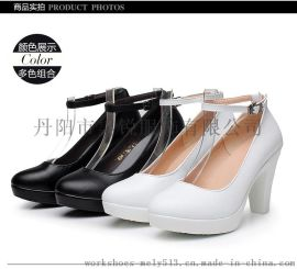 款号806-1 真皮**女士踝带高跟鞋 32~42码大小码均有 黑白两色可选