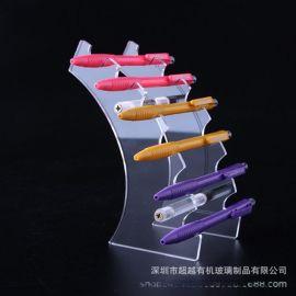 定做亚克力阶梯式笔架展示架文具展架 透明亚克力展示架定制加工