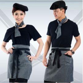 酒店工作服夏装西式餐厅短袖男女日式餐厅服务员服装酒店制服黑色