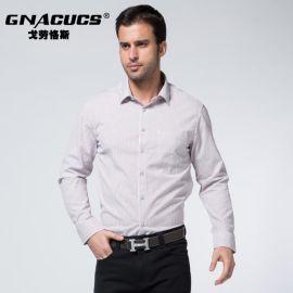 男士条纹衬衫 戈劳恪斯秋冬纯棉衬衫 品牌商务休闲衬衫