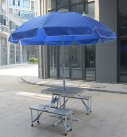 现货带太阳伞户外折叠桌椅加厚野餐桌铝合金便携式广告宣传野营桌