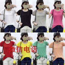 外贸女装   地摊货源女式珠地棉短袖t恤批发 便宜库存女士衣服