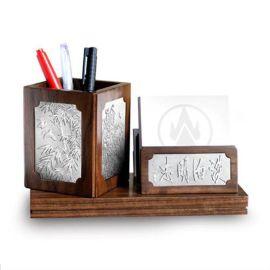 泰國錫器 淡泊明志筆筒辦公套件 商務往來 家居實用 商務禮品