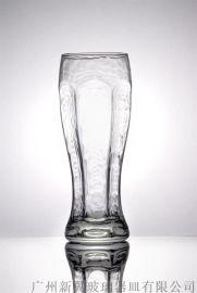 550ml豎紋玻璃啤酒杯供應磨紋表面冷飲果汁杯