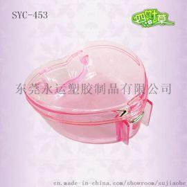 厂家供应手提塑胶塑料PS透明心形化妆品彩妆盒婚庆饰品糖果空盒