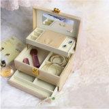 PU首饰盒带锁韩式复古收纳盒饰品盒化妆珠宝盒礼品