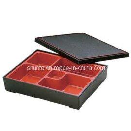 日式鳗鱼饭盒美耐皿雙色系列附盖六格餐盒