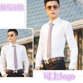 襯衫工作服定做長袖職業男式純色正規領襯衣工裝可刺繡