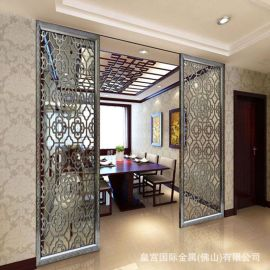 酒店不鏽鋼移動屏風隔斷 辦公室玄關裝飾屏風 客廳落地鏤空屏風