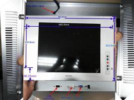 17寸4:3机架式触摸屏显示器,内置电源金属外壳,VAG输入,220V输入, USB触摸