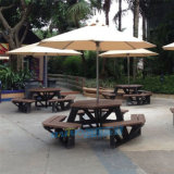 外貿戶外塑木桌椅庭院花園休閒仿木餐桌木制連體野餐桌