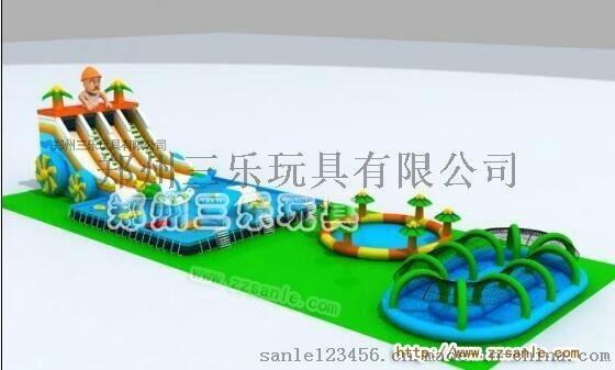 兒童支架水池水上充氣樂園充氣大滑梯水上蹦蹦牀水世界