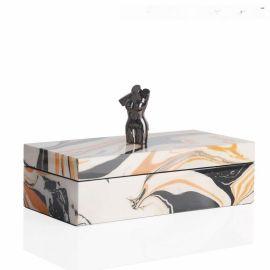 长方形首饰盒流金纹路木质钢琴烤漆首饰盒欧式创意客厅卧室摆件