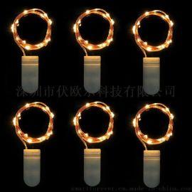 LED20灯7.2ft铜线灯串 纽扣电池防水圣诞装饰铜线灯串