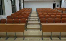 木板靠背培训桌椅,阶梯教室常用木质培训桌椅