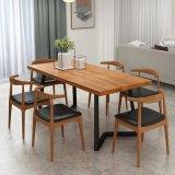 北欧家用实木餐桌 原木色吃饭桌 长条4人位桌子批发